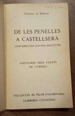 Llibre de Les Penelles a Castellserà. Primera pàgina.